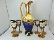 Murano Italy Blue Glass Decanter Set 6 Glasses 24kt Gold Leaf Venice