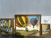 Vintage H. Hargrove Serigraph Oil On Canvas Hot Air Balloon Set Of 3