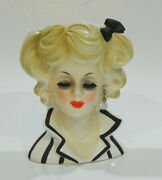 Fab 1960s Relpo Head Vase Black And White Stripe Dress Faux Pearl Earring And Label