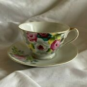 Tea Cup And Saucer Hand Painted Made In Occupied Japan Rose Design