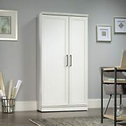 Tall Storage Cabinet White Wood Extra Large Doors Shelves Home Office Kitchen