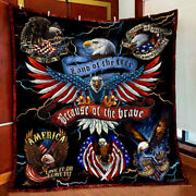 American Eagle Land Of The Free Because Of The Brave Quilt