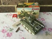 Vintage Gama Tinplate Windup Tank Made In Germany 1950's This Fires Bb's