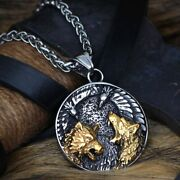 Viking Wolf Head Raven Amulet Necklace Stainless Steel Solid Menand039s Jewelry
