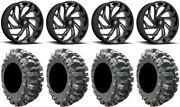 Fuel Reaction 20 Wheels Black 33 Bogger Tires Polaris Ranger Xp 9/1k