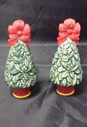 Christmas Tree Salt And Pepper Shakers Winter Holiday Evergreen Ribbon 5.75 Tall