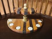 Wooden Pipe Stand Rack For 6 Tobacco Pipes Desktop Type Solid Wood No Paint