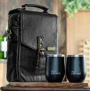 Leather 2 Bottle Insulated Wine Bag And Tumblers. Wine Cooler Bag For Black