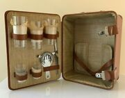 Vintage Camel Color Leather Travel Bar Suitcase Complete And Unused