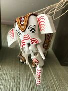 Antique Thailand Asian Marionette Elephant Wooden Puppet Hand Painted 5 Inch