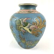 19th Century Chinese Vase Qing Dynasty Tongzhi 1862 - 1874 Floral Peacock Blue
