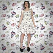 Harry Potter Hogwarts Print - 50s Style Tie-strap - Summer Dress With Pockets