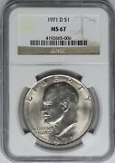 1971-d Ngc Eisenhower Dollar Ms67 High Grade Mint State Registry Quality Coin