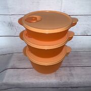3 New Tupperware Crystalwave Vent Top Bowls Containers 2642 2641 2640 Orange