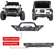 For Jeep Wrangler Jk 07-18 Matte Front / Rear Bumpers W/ Winch Plate And Led Light