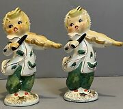 Vintage Geo Lefton Christmas Carolers Holly Berry Figurines Playing Violin 072