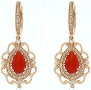 3.29ct Diamond And Aaa Carnelian 14k Rose Gold Pear Shape And Round Hanging Earrings