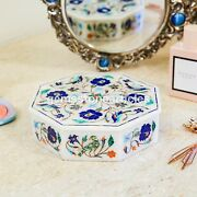 White Marble Jewelry Organizer Box Lapis Fine Floral Design Décor Gift Loves One
