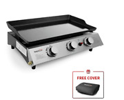 Best Gas Grill Portable Propane Table Top Hibachi Griddle Bbq 3 Burner Camping