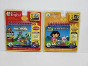Lot Of 2- Leap Frog My First Leap Pad Book And Cartridge Dora And Once Upon A Rhyme