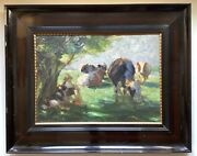 Early 20th Century Dutch Impressionism The Cows Herd Keeper And Dog Otto Dill
