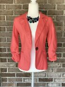 Small Charlotte Russe Peach Blazer With Button And Gathered Quarter Sleeve