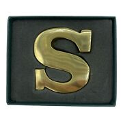 """Stuart Houghton Solid Brass Paperweight Letter """"s"""" Made In Great Britain Initial"""