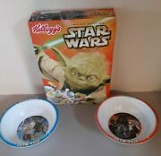 2005 Kelloggs Limited Edition Star Wars Yoda Cereal With Two Cereal Bowls Nice