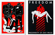 2 Cleon Peterson Signed Limited Edition Sold Out Black Red Print Political Litho