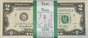 One Stack Of 100 2013 Two Dollar 2 Notes G Chicago Dst Crisp Gem Uncirculated