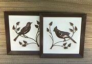 Mid Century Wall Art Relief Birds Painted Wall Hangings Coventry Ware 2 Pcs