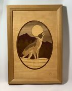 Hudson River Inlay Howling Wolf 73 Marquetry Art Signed Nelson 6.75 X 9.75