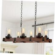 Farmhouse Chandelier For Dining Rooms, 6-lights Kitchen Island Lighting,