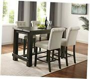 Aneta Antique Black Finished Wood 5-piece Counter Height Dining Set Tan