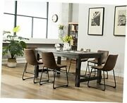 7 Piece Lotusville Wood Dining Table With Chairs Set Vintage Brown