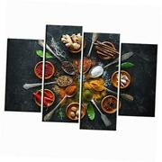 4 Piece Vintage Kitchen Wall Art Colorful Spice In Spoon Pictures Still Life