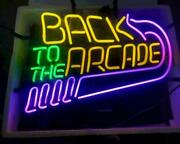 New Back To The Arcade Lamp Neon Light Sign 20x16 Room Decor Man Cave Windows