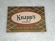 Knapps Strong 12 Oz. Beer Label Knapstein Brewing New London Wi.