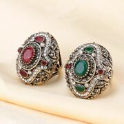 Gold Color Vintage Crystal Rings For Women Engagement Gift Jewelry Accessory