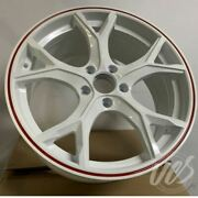 18x8 White With Red Lip Alloy Wheels Fits Honda Civic Odyssey 5x114.3 Et41