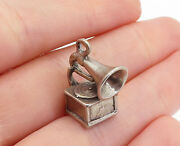 925 Sterling Silver - Vintage Petite Old Fashioned Record Player Pendant- Pt4256