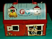 Vintage 1966 Fisher Price Toy Lunch Box Kit + Thermos Farm Barn