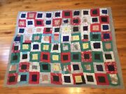 Antique Patchwork Quilt Ticking Fabric Damaged Areas Craft Diy Projects 64 X 80
