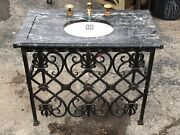 Antique Marble Top Vanity Sink Victorian Style With Faucets Iron Brass