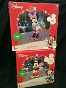 Gemmy Disney Mickey And Minnie Mouse 3d Holiday Lighted Tinsel Yard Sculpture 2016