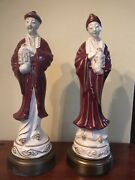 2 Vintage Electric Tyndale Oriental Hand Painted Ceramic Lamps Bases / Statues.