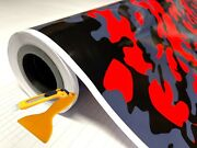 Red Black Gray Glossy Camouflage Vinyl Car Wrap Sheet +free Tools 2 Feet And Up