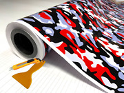 Red Black White Gray Glossy Camouflage Vinyl Car Wrap Sheet +tools2 Feet And Up