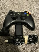 Tested Working Black Oem Xbox 360 Wireless Controller W/ Battery Charging Cable