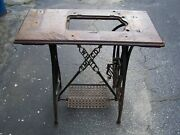 White Sm Co Cast Iron Treadle Sewing Machine Base With Top Made In The U.s.a.